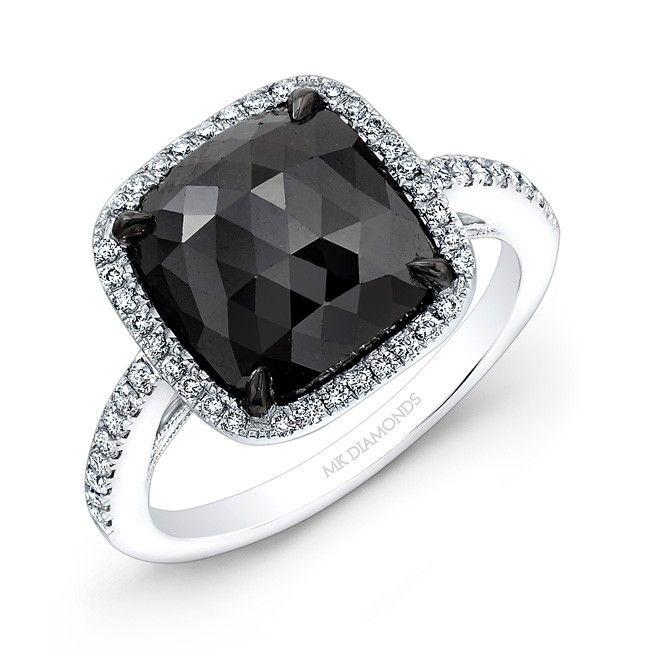 4.75 Carat Cushion Shape Black Diamond Ring  Mmmmmm Yes please :)