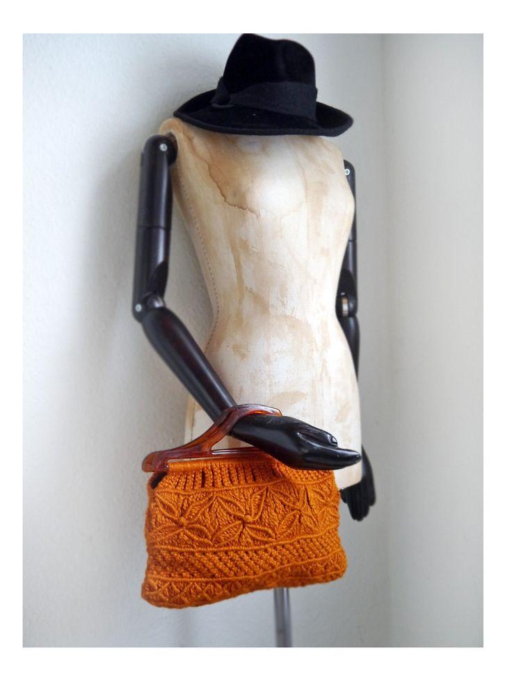 Vintage 70s CLUTCH Knit Macrame Orange Boho Retro Hippie purse by SuitcaseInBerlin on Etsy