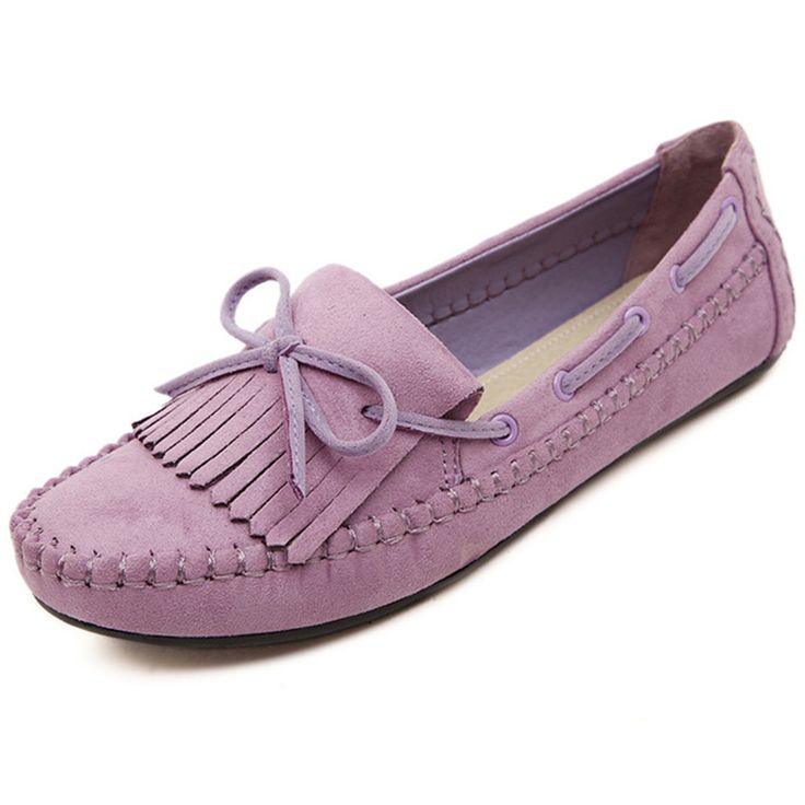 2017 Candy Color Women Loafers Tassel Fashion Round Toe Ladies Flat Shoes Woman Sweet Bowtie Flats Casual Shoes size35-41