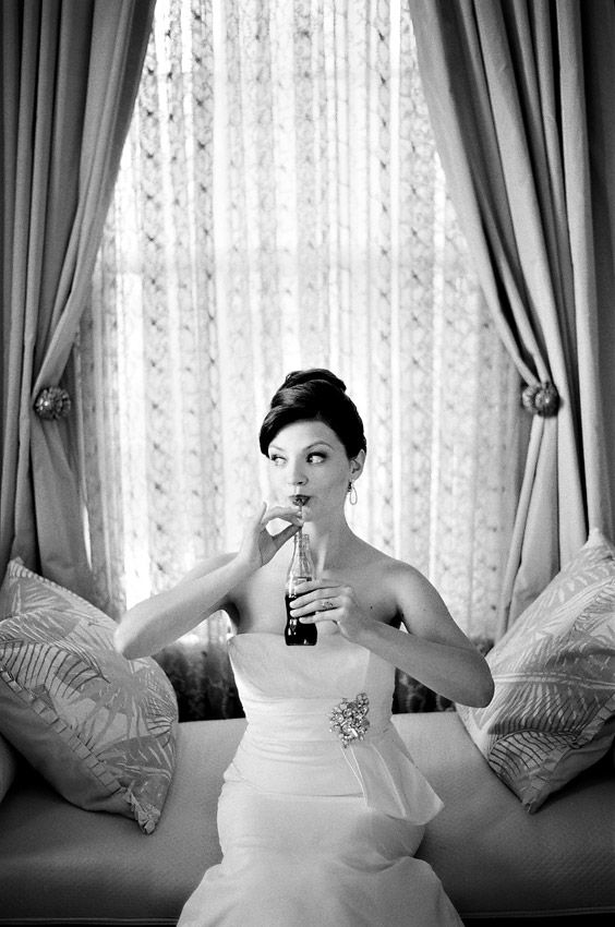 Old Black and White Photography | old-hollywood-coca-cola-black-and-white-film-bridal-portrait