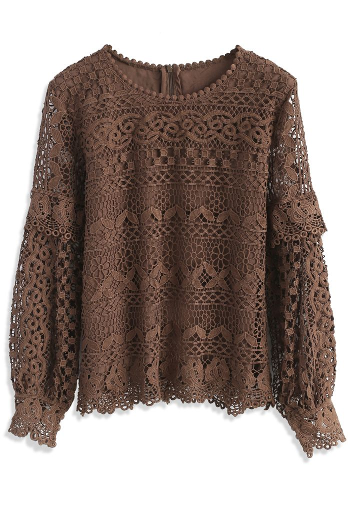Word of Crochet Top in Tan - New Arrivals - Retro, Indie and Unique Fashion