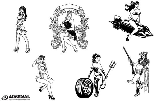 Pin-up Girls Vector Pack by Go Media on Creative Market