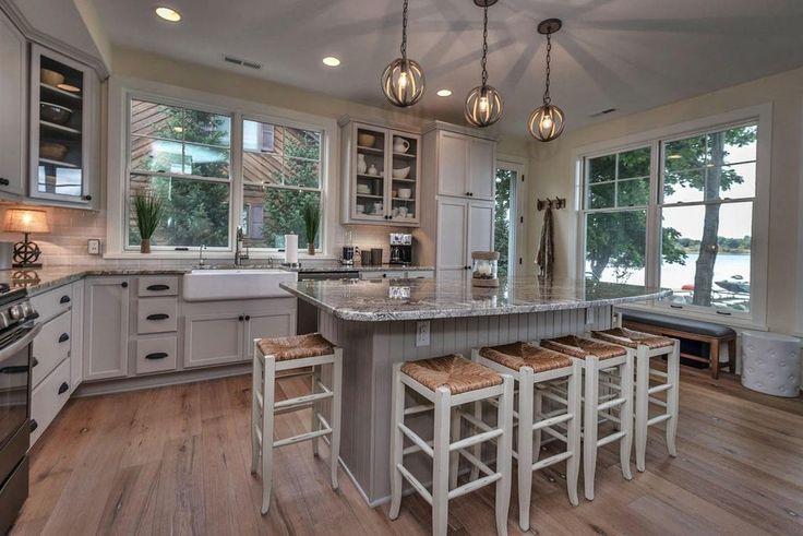 "Cottage Kitchen with Signature Hardware 30"" Reinhard Fireclay Farmhouse Sink, Napoleon Backless Barstool"