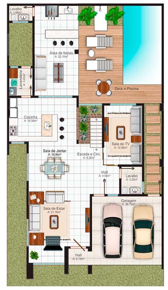 2 1 plano primer piso omg r pinterest for Plano de casa quinta moderna