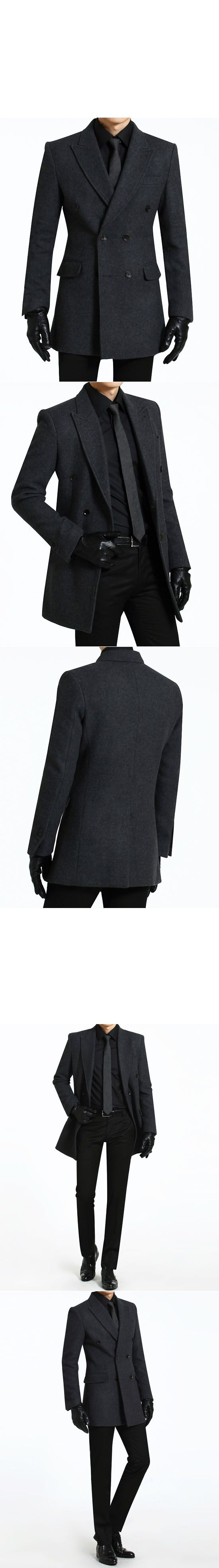 Outerwear :: Coats :: Sharp Classic Double Wool Peaked Lapel-Coat 56 - Mens Fashion Clothing For An Attractive Guy Look