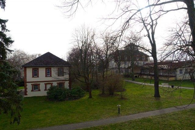 Ausblick von meinem Zimmerbalkon im Vitalhotel Ambiente auf den Kurpark von Bad Wilsnack (Brandenburg)
