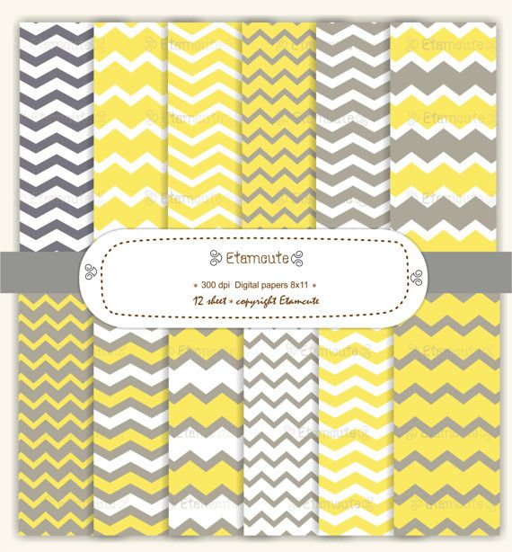 chevron digital paper scrapbooking  yellow and gray  E by etamcute, $4.50
