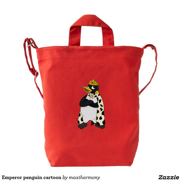 Emperor penguin cartoon duck canvas bag