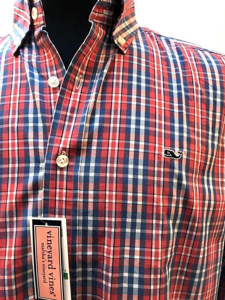 Vineyard Vines Whale Shirt Slim Fit L XL Plaid Gilbert's Pond Firecracker NEW #VineyardVines #ButtonFront