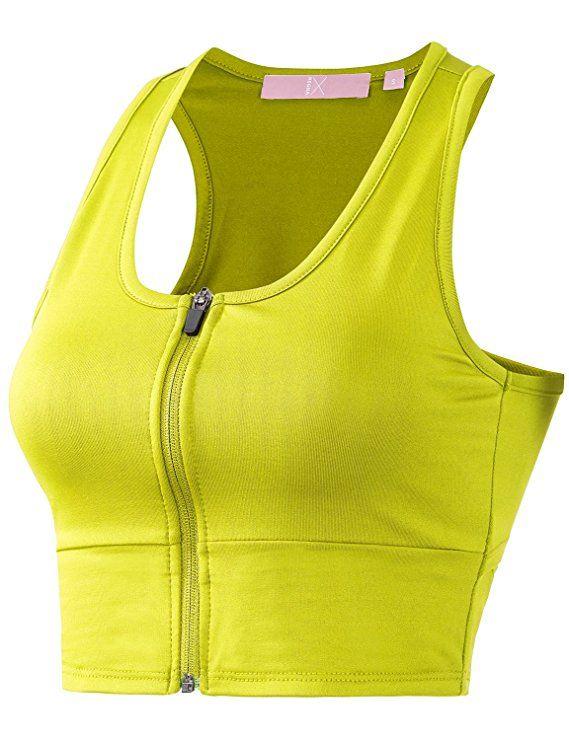 5383d2f03 Regna X Women Racerback Sports Bras Workout Gym Activewear XS Bra Tops  Yellow S   -