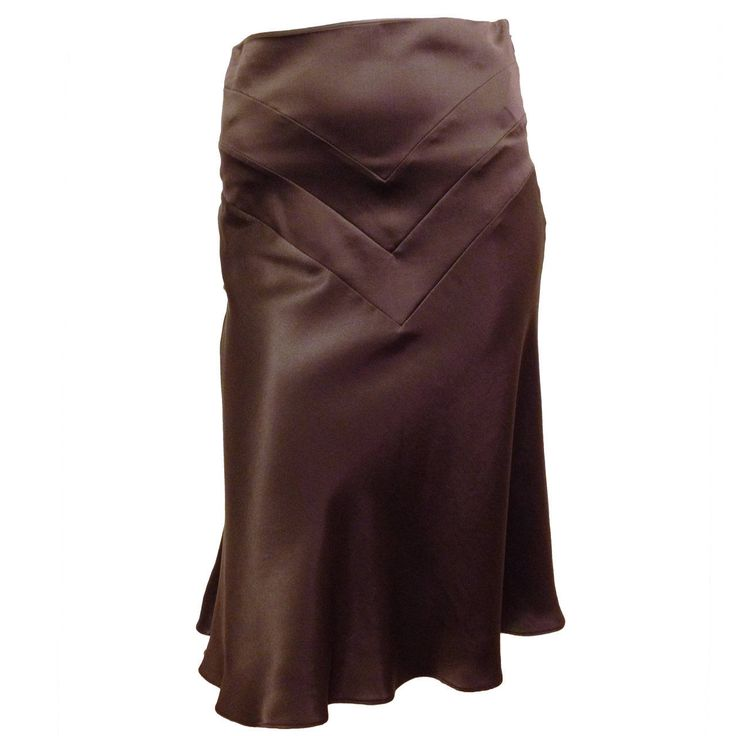 Chloe Brown Satin Bias Cut Skirt   From a collection of rare vintage skirts at https://www.1stdibs.com/fashion/clothing/skirts/