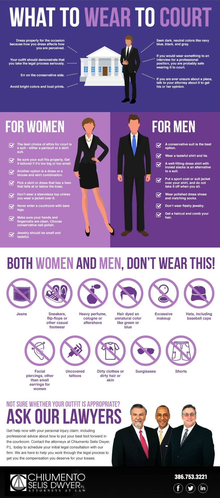 """When it comes time to have your day in court, you want to dress properly for the occasion. According to Psychology Today, how you dress affects how you are perceived. This is true in the courtroom as well as other settings. Give your case the best possible chance of succeeding by going to court in an outfit that communicates that you take the legal process seriously.  You might find yourself asking """"what do I wear to court?"""" especially if it is your first time entering a courtroom. Speak…"""