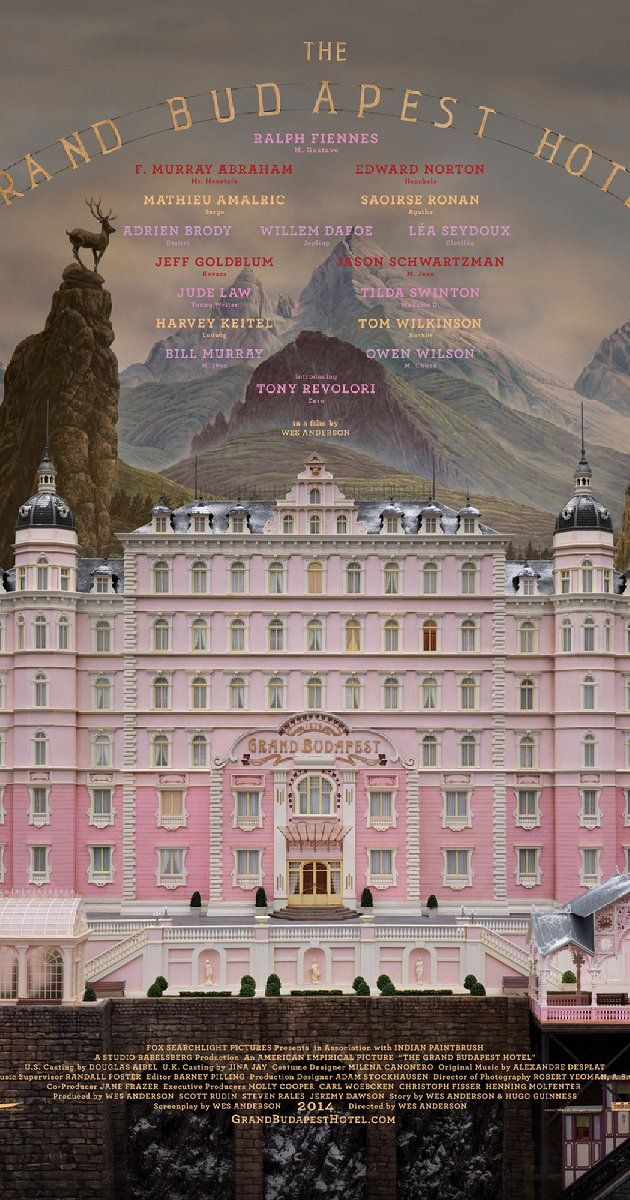 Directed by Wes Anderson.  With Ralph Fiennes, F. Murray Abraham, Mathieu Amalric, Adrien Brody. The adventures of Gustave H, a legendary concierge at a famous hotel from the fictional Republic of Zubrowka between the first and second World Wars, and Zero Moustafa, the lobby boy who becomes his most trusted friend.