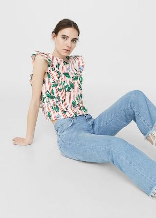 Ruffled stripe-patterned blouse -  Woman | MANGO United Kingdom