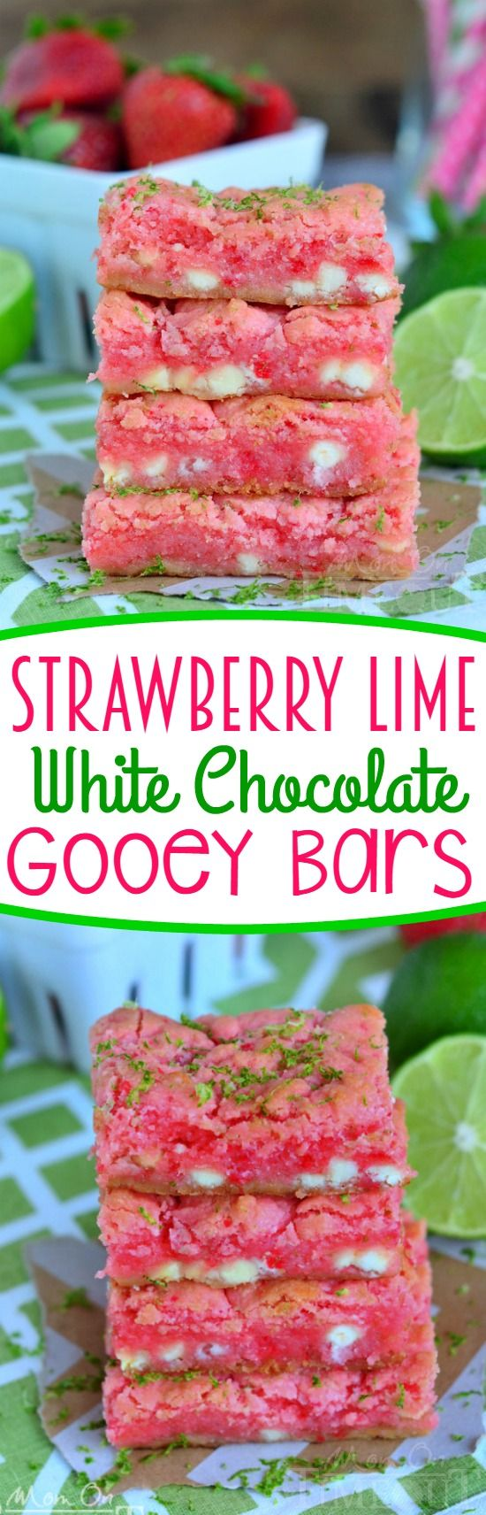 These easy Strawberry Lime White Chocolate Gooey Bars will make the perfect spring or summer time treat! Start with a cake mix and see what happens! Everyone goes crazy for this easy strawberry dessert!