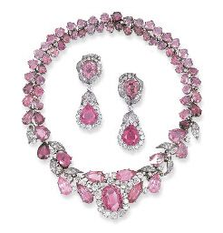 Pink Tourmaline and Diamond jewelry suite. Auctioned for $38,497.