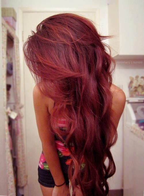 Dark cherry red hair... Fun to try as temporary color one summer or winter.