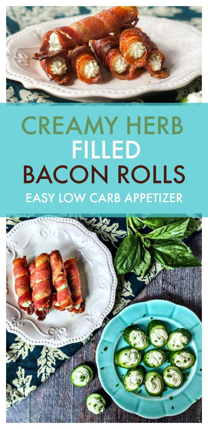 These creamy herb filled bacon rolls are sure to be a hit at your next party. As a low carb appetizer it's easy and delicious. The herb cream filling can be used on cucumber slices as well.#bacon #lowcarbappetizer #lowcarbsnack #lowcarb