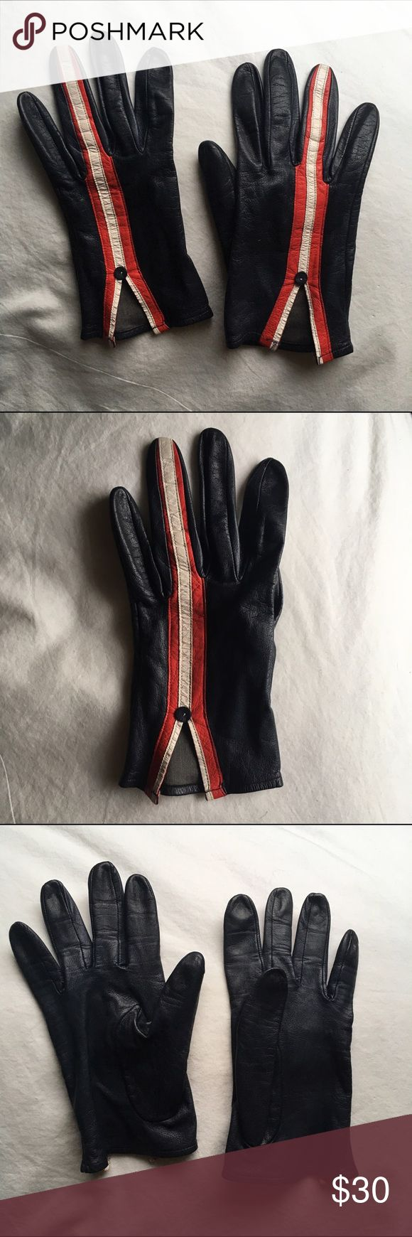Vintage lightweight leather gloves Soft leather gloves, navy blue with red and white stripes down ring fingers, lightweight, lots of flexibility. Measurements to come but they fit my hands perfectly and I have large-ish hands. Vintage Accessories Gloves & Mittens