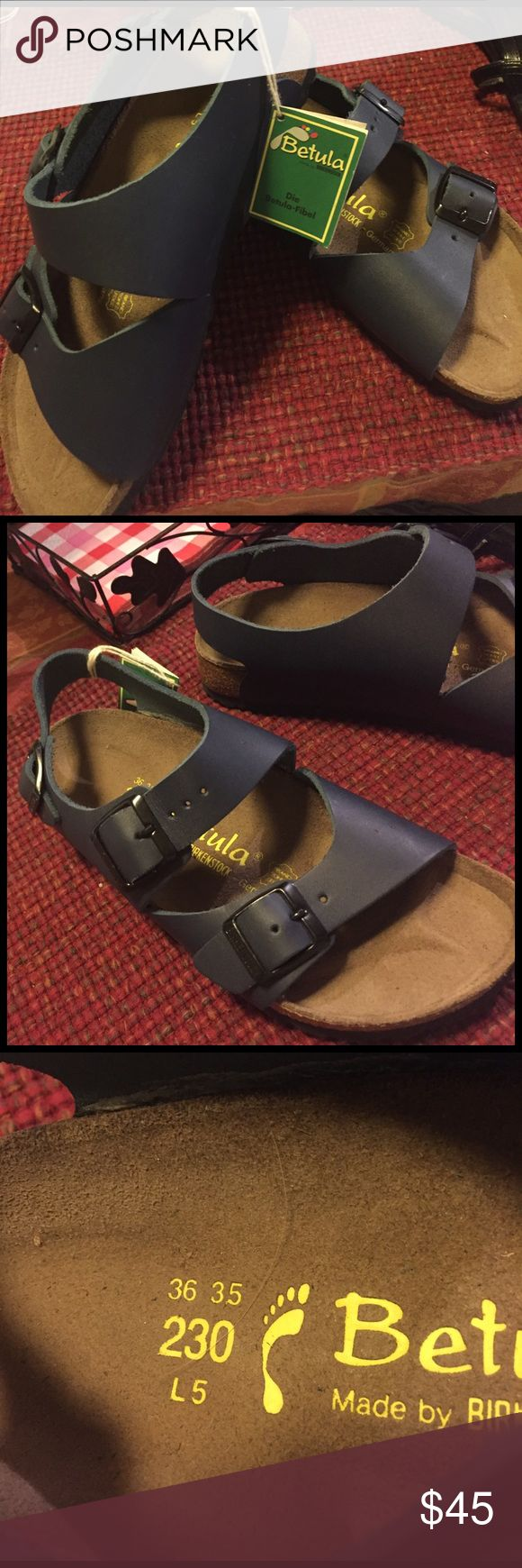NWT Betula by Birkenstock size 36 35 L5 Brand-new pair of Betula  sandals. Made by Birkenstock. I'm posting a picture of the size so there is no questioning. They are dark blue. Birkenstock Shoes Sandals