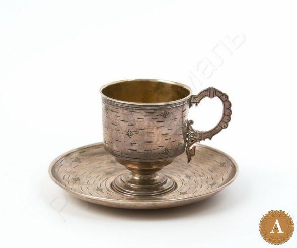 Чашка с блюдцем в русском стиле «Береста»