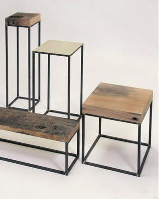 End tables with a mix of rustic wood and metal