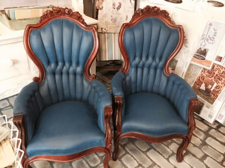 Velvet chairs painted with Aubusson Blue Chalk Paint® decorative paint by Annie Sloan   By stockist Maison Decor of Reading, MA