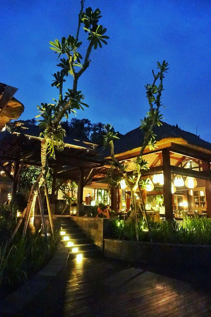 The library at night at Mandapa Reserve Ubud.  Designed by #MilesHumphreysArchitect