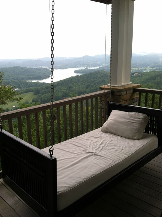 I need this in my life.Hanging Beds, Dreams, The View, Sleep Porches, Mountain Cabin, House, Front Porches, Porches Swings, Swings Beds