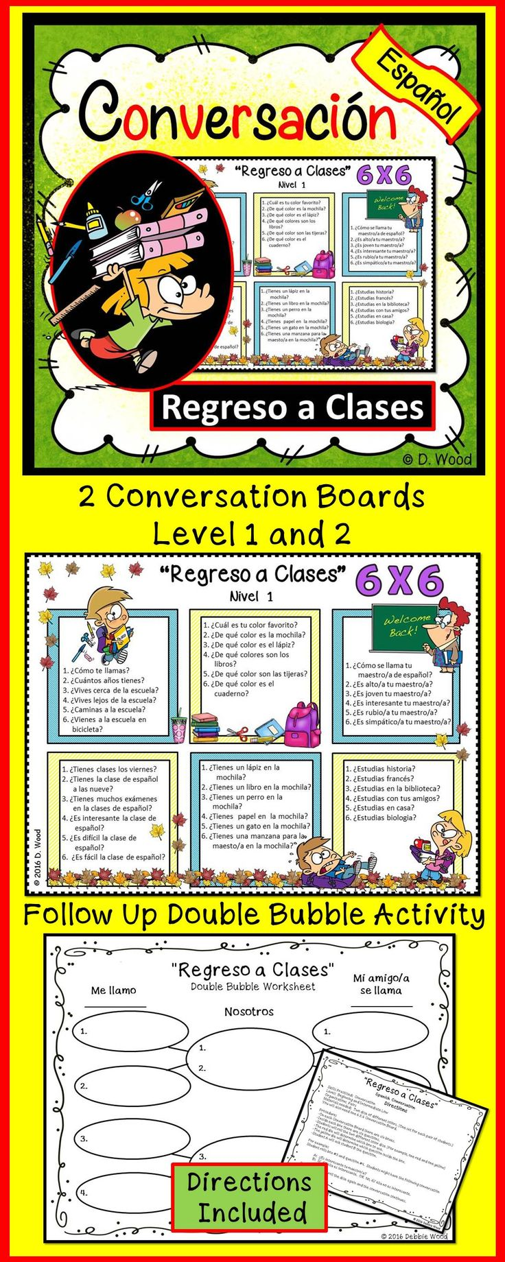 Spanish Conversation Boards for Back to School. A fun and engaging conversation activity for students to communicate in the target language.