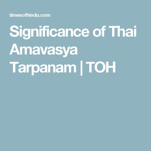 Significance of Thai Amavasya Tarpanam   TOH