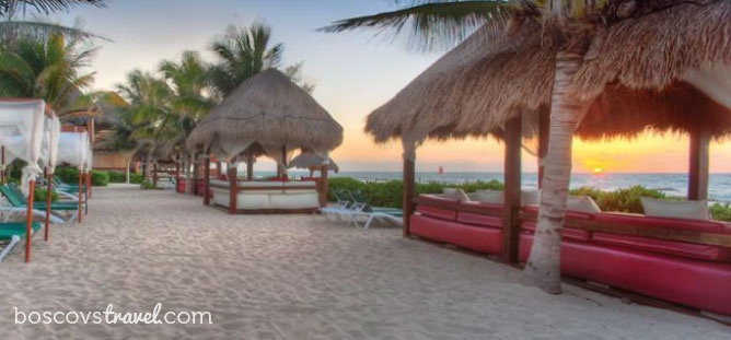 El Dorado Royale is an all inclusive adults-only resort located in the Riviera Maya, Mexico. Watch the sunset from a private, beach-side cabana bed. #honeymoon #wedding #travel #mexico