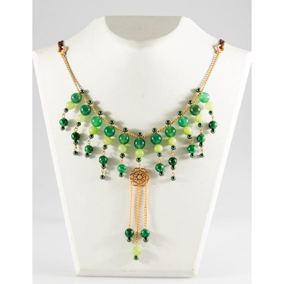 Green Statement Necklace  Green Agate and Jade by MrsBlueBitter