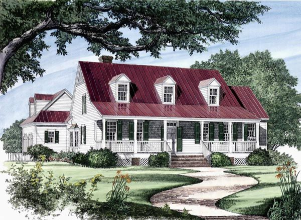 Colonial cottage country farmhouse southern traditional for Country style farmhouse plans