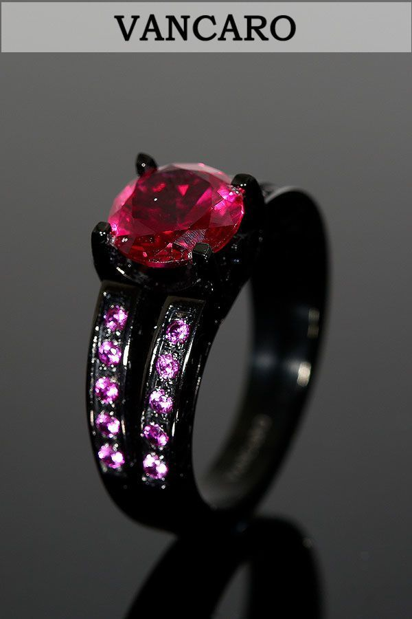 Classic and Vintage Solitaire Synthetic Ruby Titanium Steel Black Wedding Ring,Engagement Ring for Women