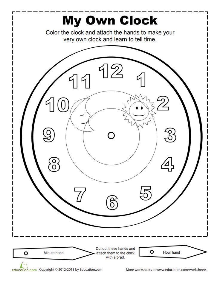 Make A Clock Worksheet Education Com Clock Worksheets Time Worksheets Make A Clock
