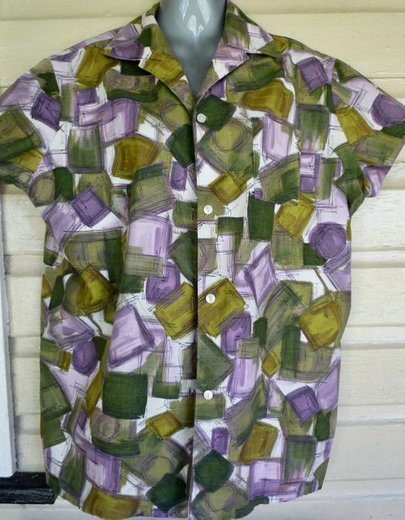 Classic 1950s ladies shirt size 14 modern by itsretrodarling