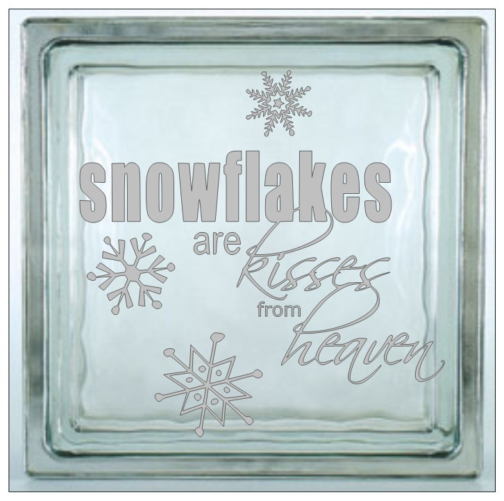 Glass block vinyl decal snowflakes are kisses from heaven christmas decal glass block tiles
