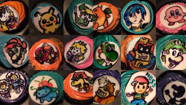 Super Smash Bros. cupcakes