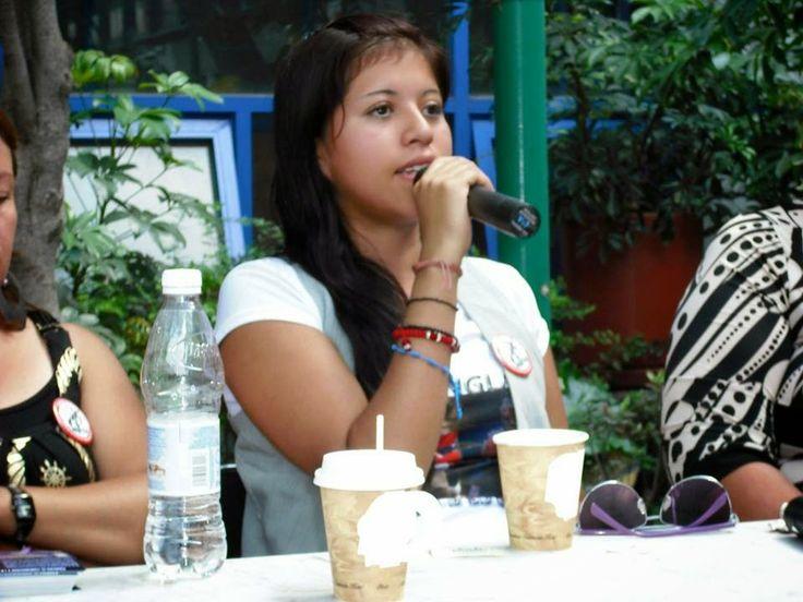 Yakiri Rubio en la Jornada Contra el Feminicidio y la Represión. ENTS, FFyL, FCPyS, UNAM, México