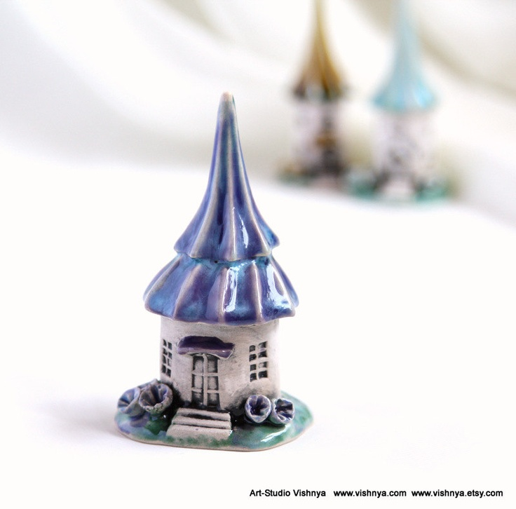 Turquoise lavender Summer House of tiny fairies by studio Vishnya. $24.00, via Etsy.