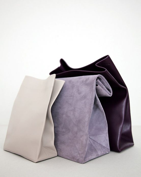 Leather & Suede Lunch Bags in aubergine/eggplant purple, lilac and cream