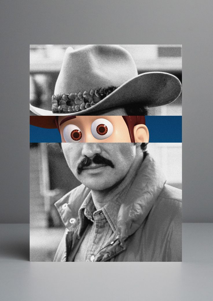 Celebridades Animadas | Burt Reynolds and Woody. Animated Celebrities by Portuguese art director, creative, artist and designer Rui Pinho. Visual mashups where Rui pairs up the face of a celebrity with the eyes of a popular cartoon. Rui Pinho Design & Art Direction https://www.behance.net/RuiPinho