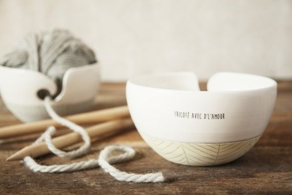 Knitting bowl yarn bowl. Large ceramic wool bowl with cute