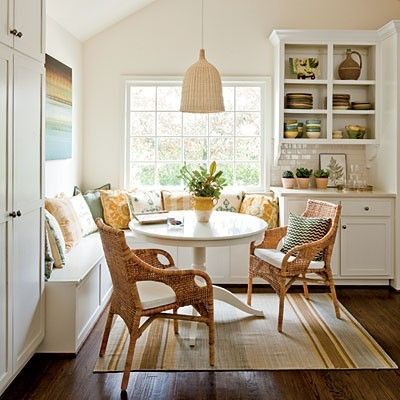 Built n bankette at end of kitchen cabinets? With storage in the seat?