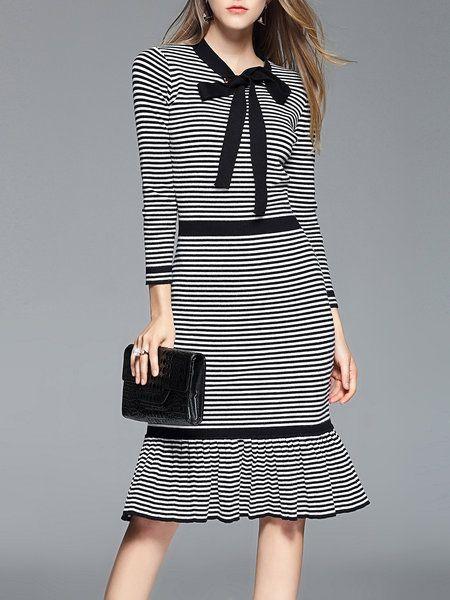 Bow Ruffled Bow Long Sleeve Midi Dress