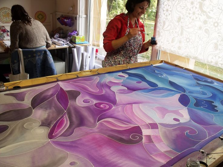 Big silk stoles - hand painted silks from Hungary