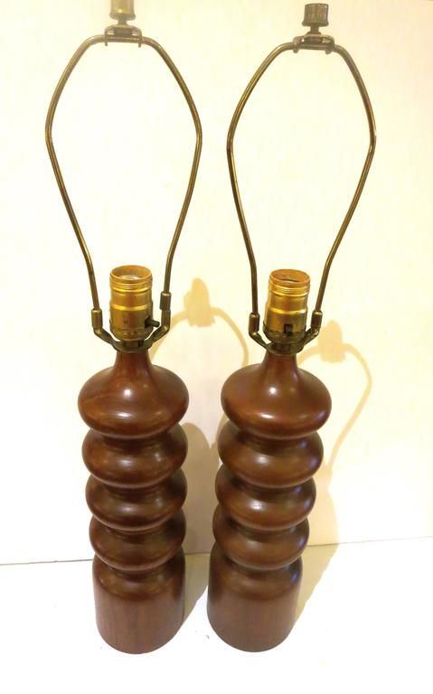 Pair of Danish Modern Solid Sculpted Teak Table Lamps 4
