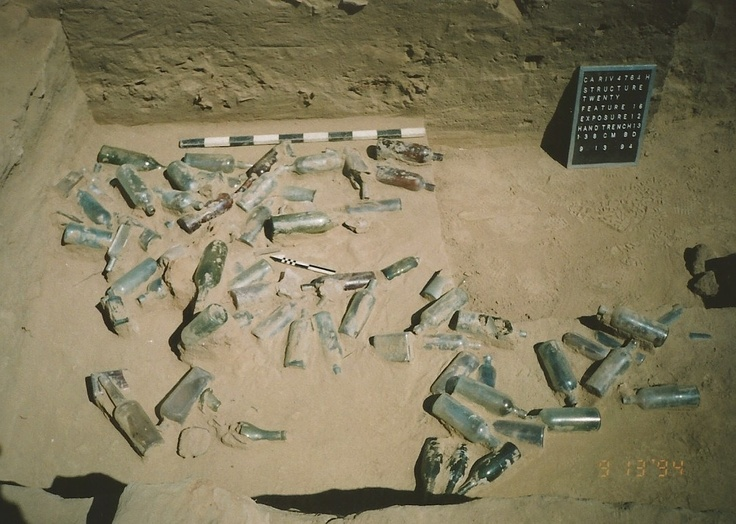 Exposed late 1800s bottle dump feature, Hemet, CA. 1994