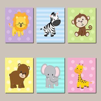 JUNGLE Nursery Wall Art Jungle Animals Art ELEPHANT Giraffe Zebra Boy Girl Twins Nursery Decor Zoo Safari Animals Set of 6 Prints Or Canvas